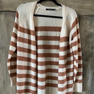 Ivory and camel striped cardigan